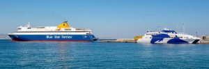 naxos farja panorama 300x100 - Naxos, Greece - May 23, 2017: Two Ferries In Port Of Naxos Town. Blue Star Ferries And Seajets Cycla