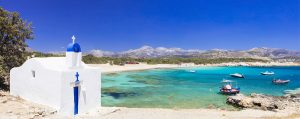 naxos sevardheter 300x119 - Traditional Greece - small church on the turquoise beach. Naxos